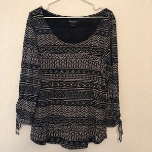 Lucky Brand Pattern Long Sleeve Top